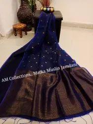 Devi textile Silk Matka Muslin Jamdani Sarees, 6.3 m (with blouse piece)