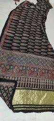 Ajrakh Print Silk Sarees With Tissue Pallu