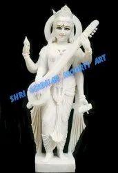 Marble Saraswat standing statue
