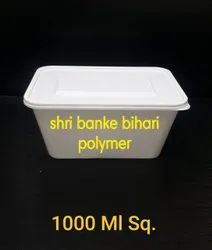 White Plastic Rectangle Food Packaging Box, Size: 1000ml