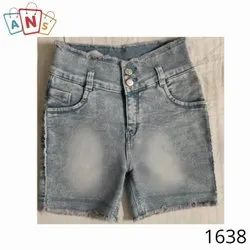Faded Denim Capri Shorts