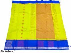 Kota Silk Cotton Korvai Border Saree, Saree Length: 6.3 M (with Blouse Piece)
