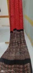 Kutchi Ajrakh Hand Block Silk Sarees
