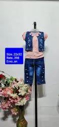 SN Pink Kids Jeans Capri
