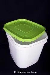 白色聚丙烯42 lt塑料桶/容器,工业用,带盖