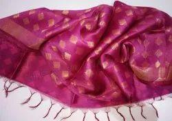 Devo textile Party Wear Silk Linen Jamdani Saree, 6.3 m (with blouse piece)