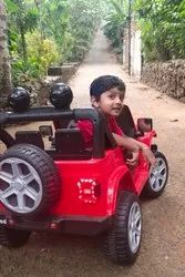 Red Plastic Battery operated ride on toy jeep