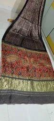 Kalamkari Ajrakh Hand Block Printed Silk Sarees