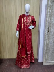 Rayon printed kurti with skirt and duptta set