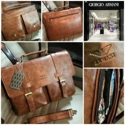 Brown Synthetic Leather Laptop Bags