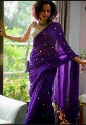 Hand Sequin Work Soft Mulmul Cotton Sarees