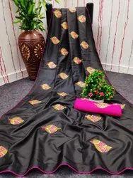 SR Embroidery work Sana Silk Saree, 6.3 m (with blouse piece)