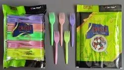 100 Piece Disposable Plastic Fork PP Crysta, For Event and Party Supplies, Size: 146mm