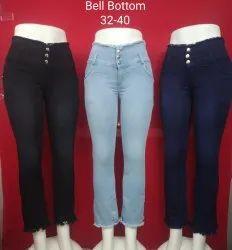 Button Ladies Stretchable Denim Jeans, Waist Size: 32-40