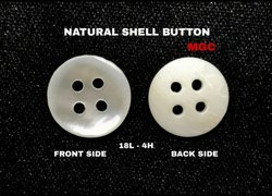 Round MOP Shell 18l-4h Button, Size/Dimension: 18l (11mm To 12mm)