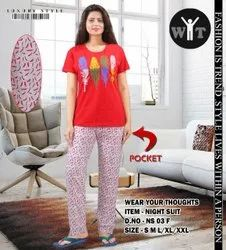 Hosiery Cotton Ladies Night Suits, T Shirt and Pant