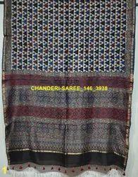 Ajrakh Hand Painted Chanderi Silk Sarees