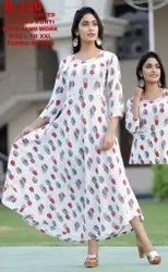 3/4th Sleeve White Rayon Printed Flyered Kurti With Hand Work, Wash Care: Handwash, Size: S-XXL