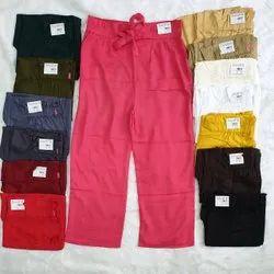 Rayon Plain Knot Parallel Ladies Pant
