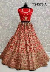 Unstitched Red Wedding Wear Lehenga Choli