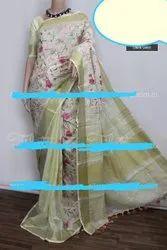 Linen Allover Embroidery Work Sarees