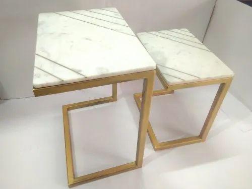 Brass Inlay Nesting Tables