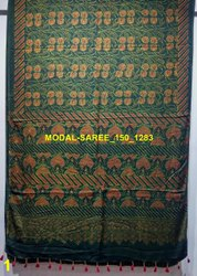 Natural Dyed Ajrakh Hand Design Silk Sarees
