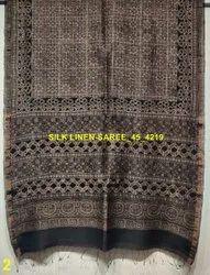 Silk Linen Ajrakh Hand Block Sarees