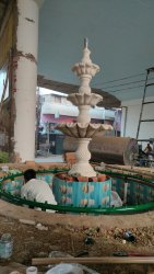 Street Decor White Marble Three Tier Fountain, For Gardenresorts Park Offices, Foam