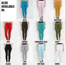 Straight Fit Plain Ladies Cotton Leggings, Size: Free Size