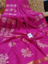 Pure Matka Silk Fabric Hand Weaving Jamdani Saree With Blouse