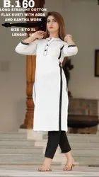 Casual Wear 3/4th Sleeve Long Straight Cotton Flex Kurti, White, Wash Care: Handwash