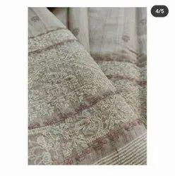 Thread Embroidery Work Silk Linen Sarees