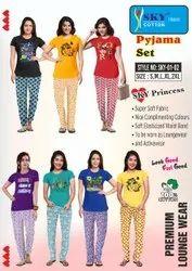 Female Casual Ladies Printed Pyjama Set, Size: S M L Xl Xxl