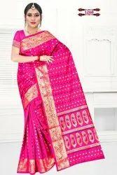 Multy Banarasi Cotton Silk Saree, With Blouse, 6.3 m
