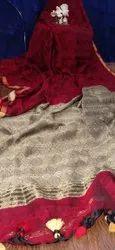 Mulmul Cotton Weaving Work Sarees