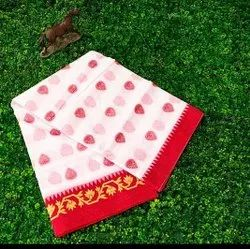 Party Wear Printed WHITE SAREE, Without blouse piece, 5.5 m (separate blouse piece)