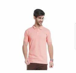 Plain Pink Cotton Polo T Shirt