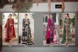 Embroidered Rawayat Fashion Damask X Rouche Pakistani Party Wear Georgette Suits