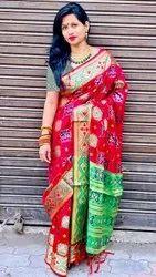 Gota Work Red Lichi Silk Saree, 6.3 m (With Blouse Piece)