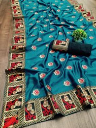 Multi embroided Blue Two tone vichitra silk saree