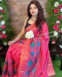 Tussar Matka Silk Embroidery Work Sarees