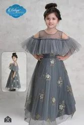 Grey Gown Baby Girls Fancy Dress For Party, Size: 18-30