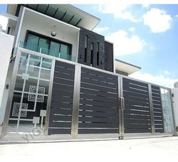 Silver Stainless steel sliding gate, For Home