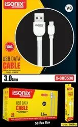 Micro Usb White Isonix 3.0 Amp Charging Cable, For Mobile Phone