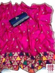 Dev collections Festive Wear Sana Silk Saree, 6.3 m (with blouse piece)