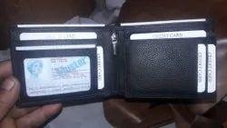 Black Bi Fold Men Leather Wallet, For Daily Use