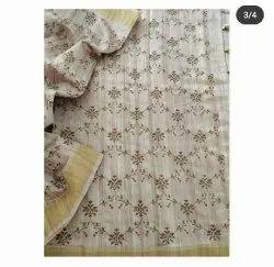 Embroidery Work Silk Linen Sarees