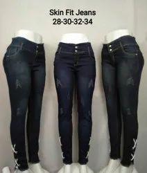 Button Ladies Stylish Denim Jeans, Waist Size: 28-34