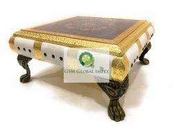 Golden Wood Pooja Chowki